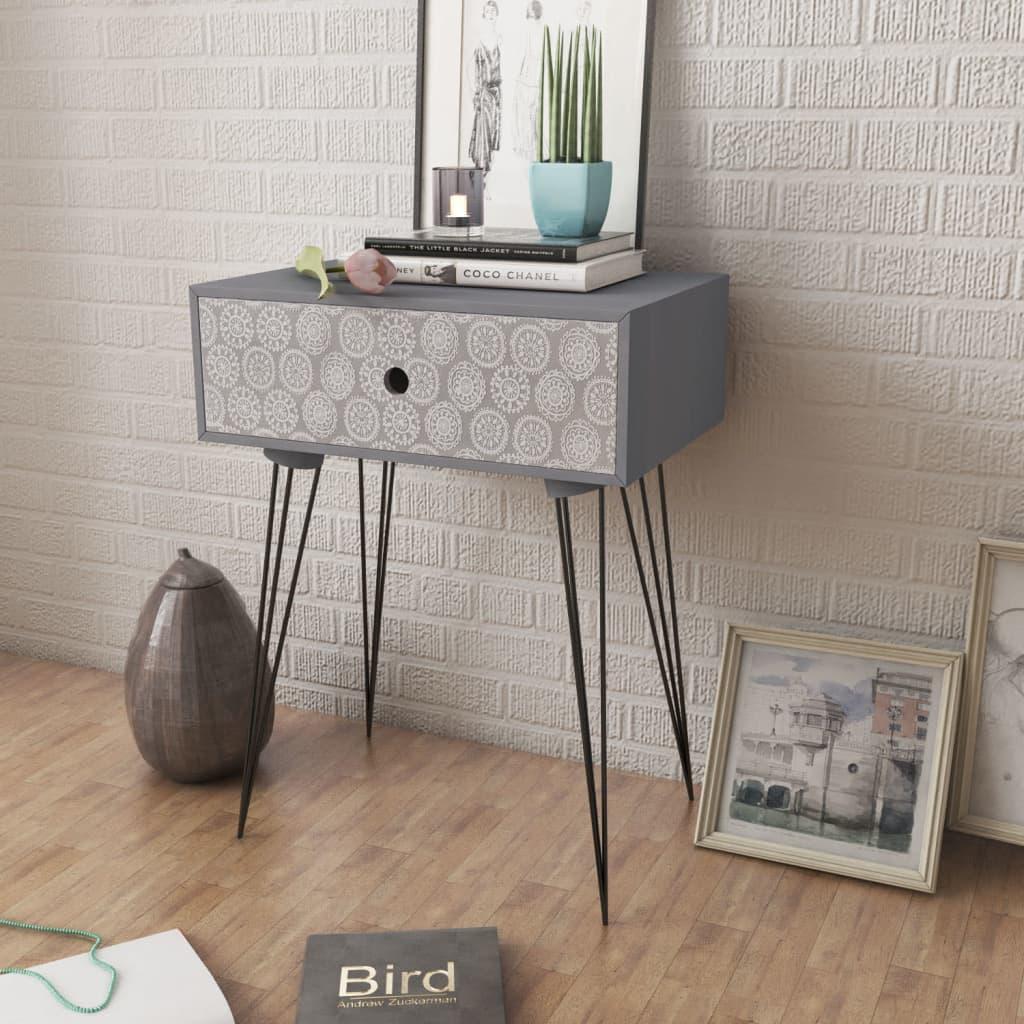 vidaXL-Gabinete-mesita-de-noche-rectangular-con-un-cajon-color-gris