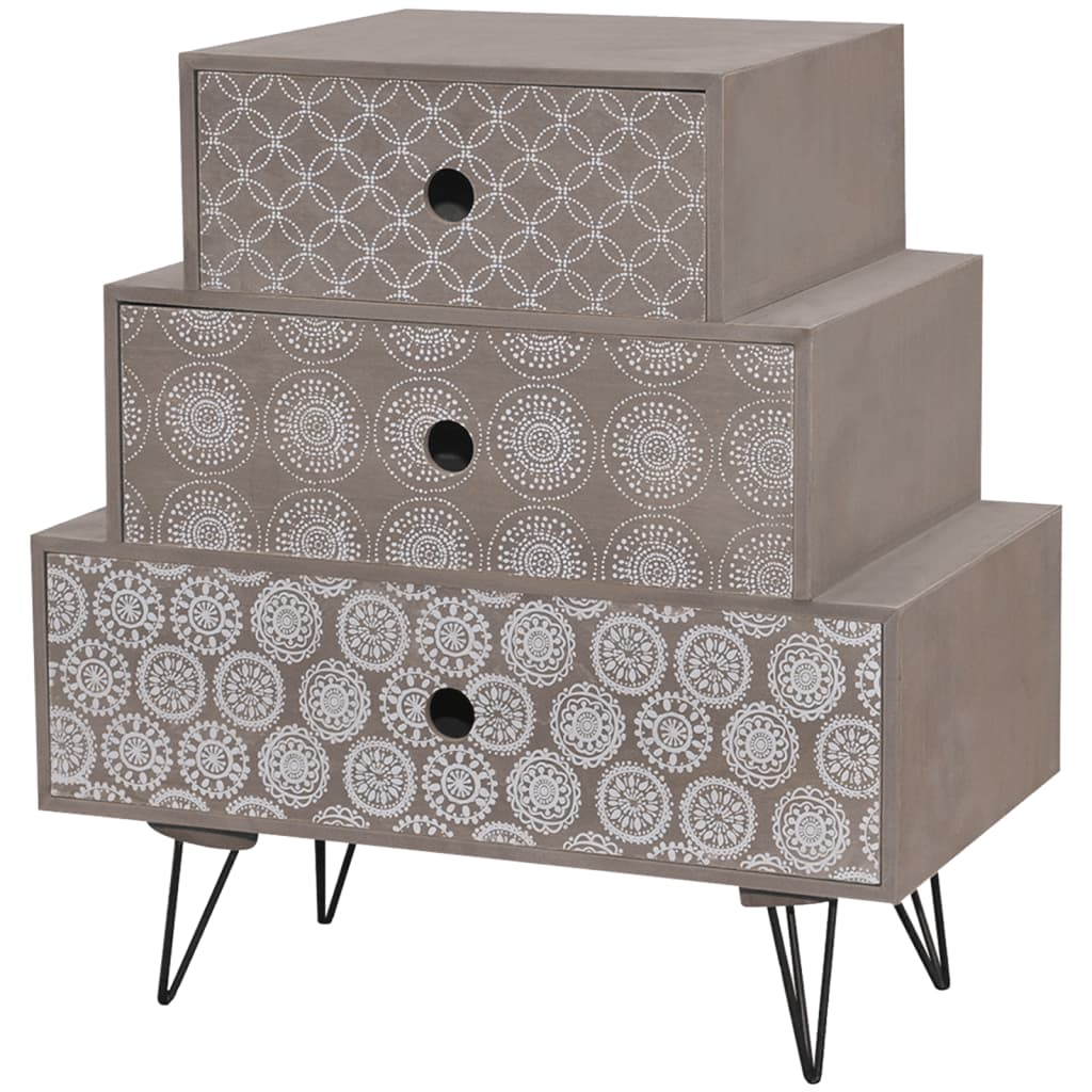la boutique en ligne table de chevet 3 tiroirs gris. Black Bedroom Furniture Sets. Home Design Ideas