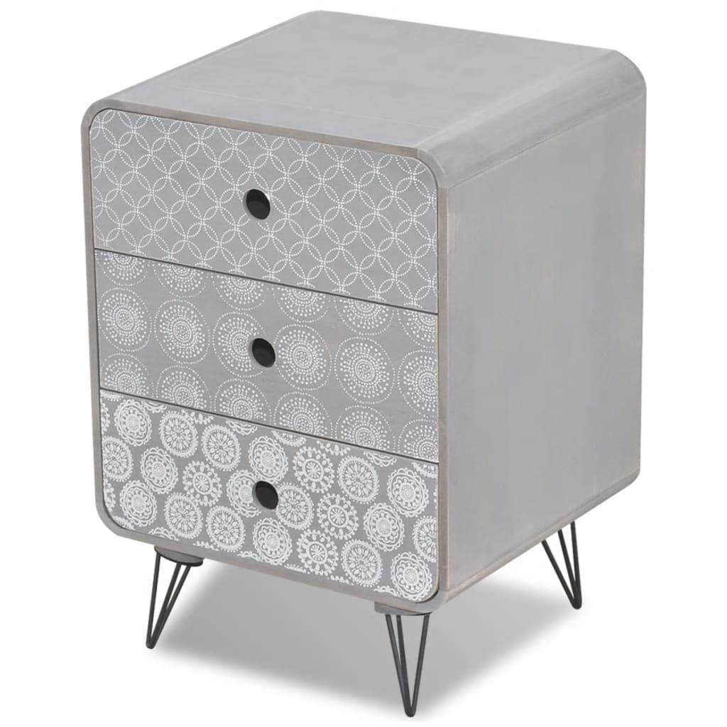 vidaXL Komoda z 3 szufladami, szara