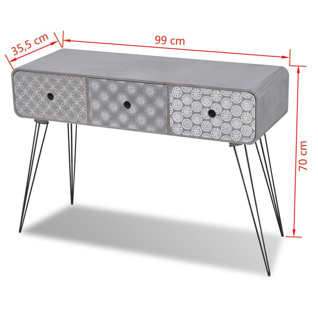 beistellschrank konsolentisch mit 3 schubladen grau g nstig kaufen. Black Bedroom Furniture Sets. Home Design Ideas