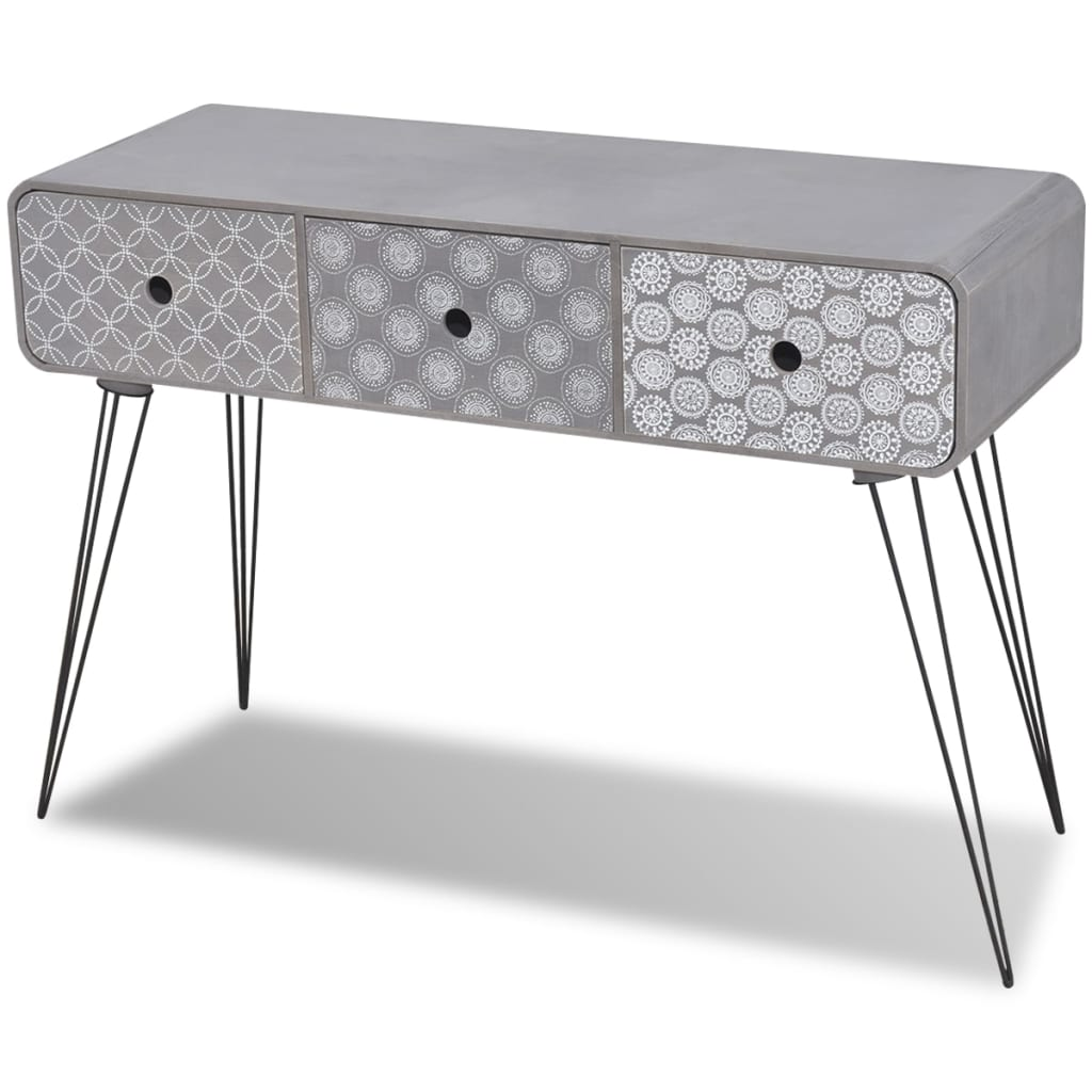 der beistellschrank konsolentisch mit 3 schubladen grau online shop. Black Bedroom Furniture Sets. Home Design Ideas