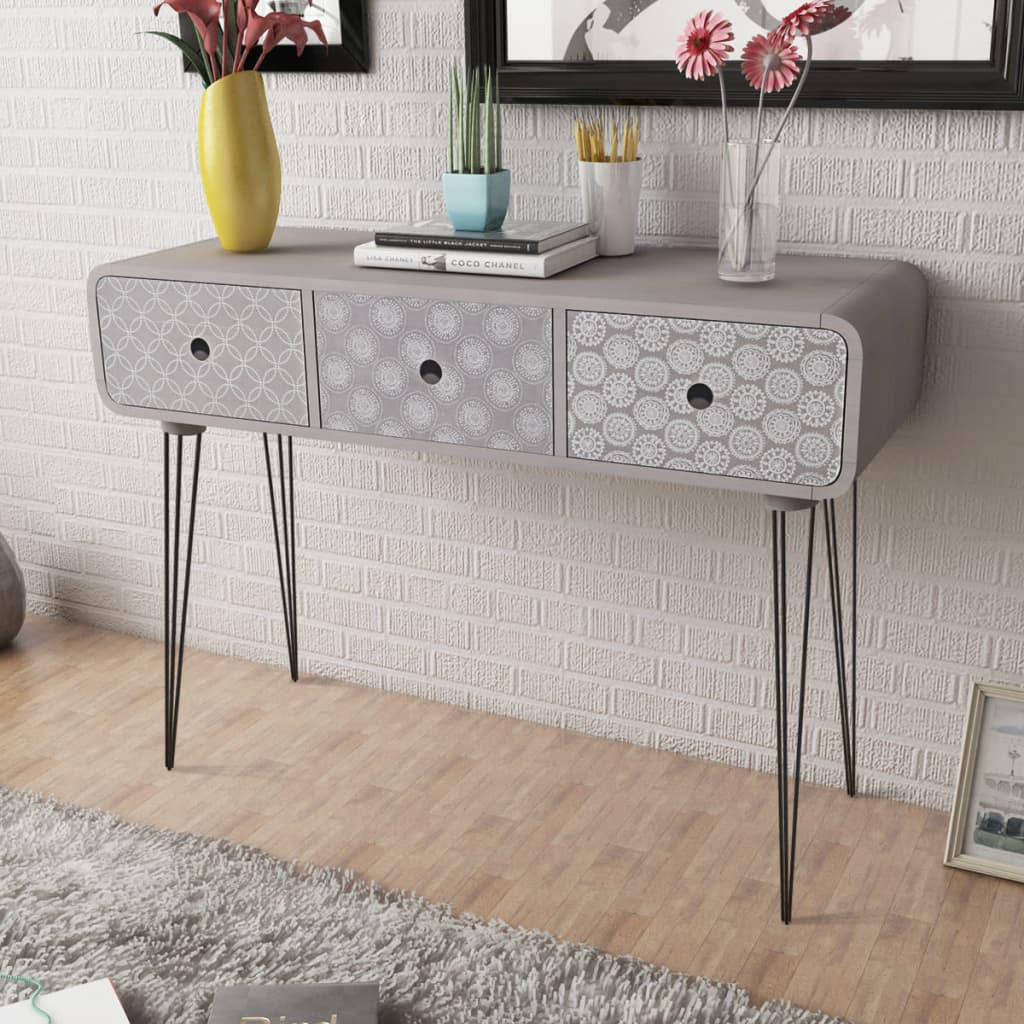 Side Cabinet Console Table With 3 Drawers Grey Www