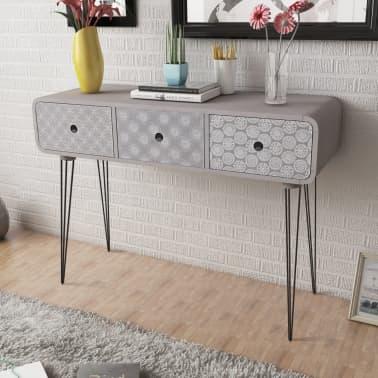 der beistellschrank konsolentisch mit 3 schubladen grau. Black Bedroom Furniture Sets. Home Design Ideas
