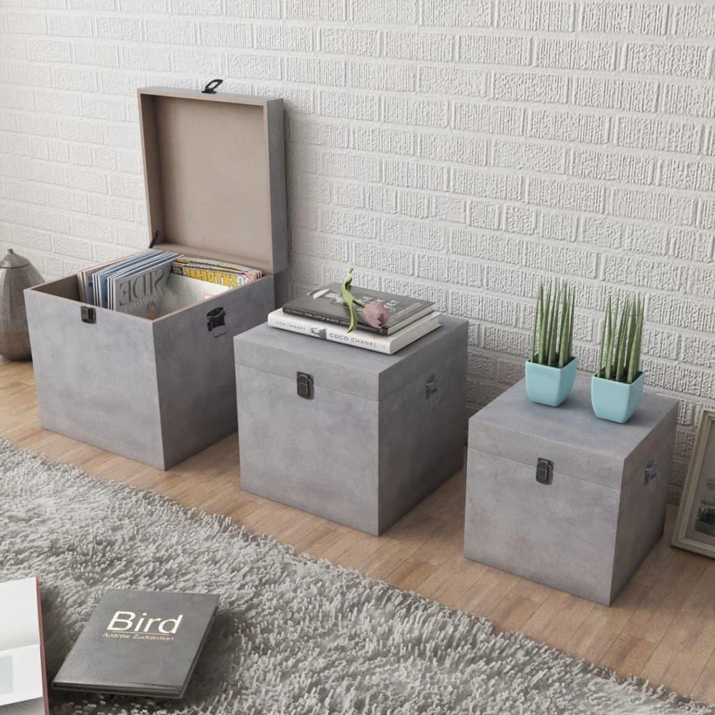 vidaXL 3 db kocka MDF tároló doboz cement szürke szín