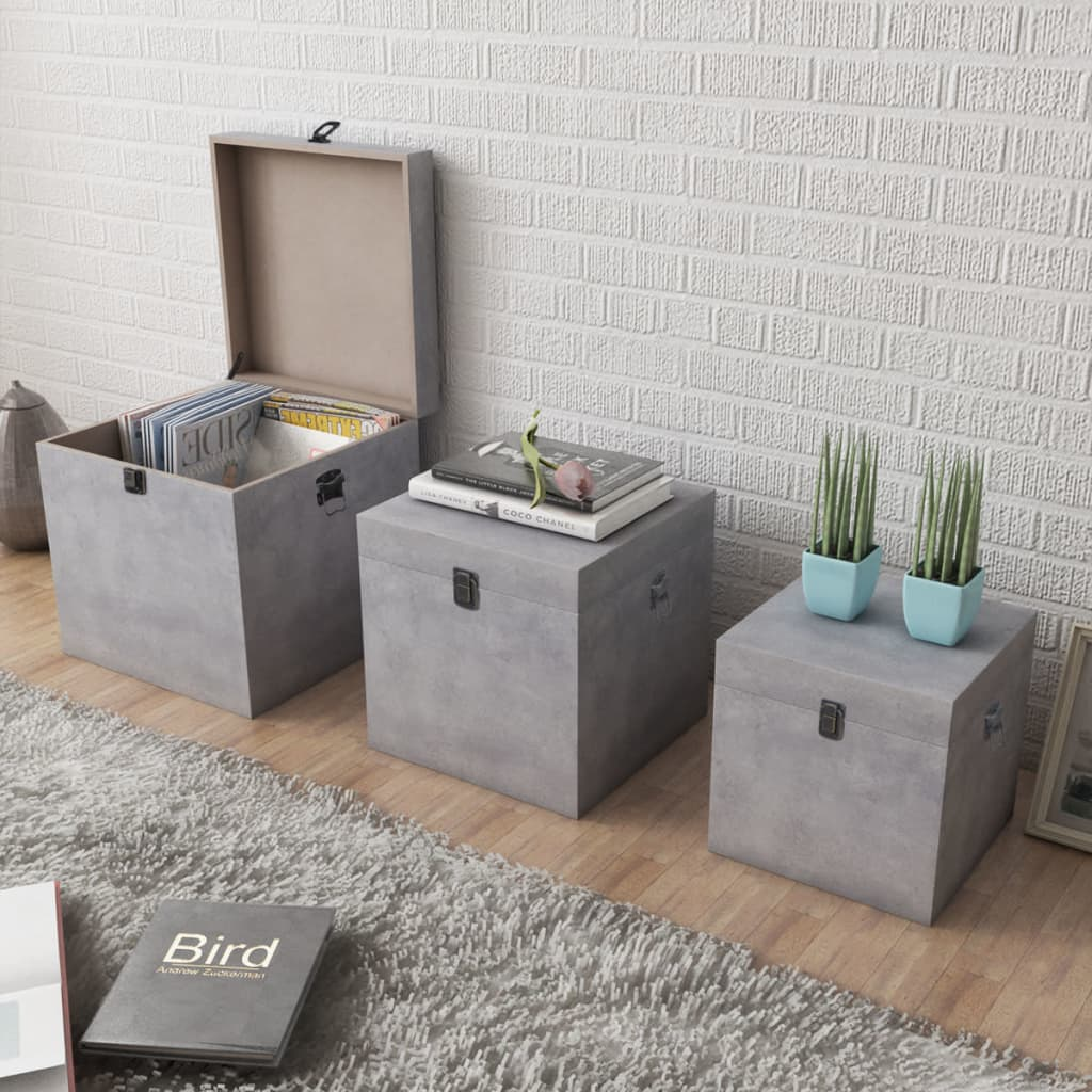 Cajas de almacenaje de tablero dm gris concreto x3 tienda - Cajas de almacenaje ...