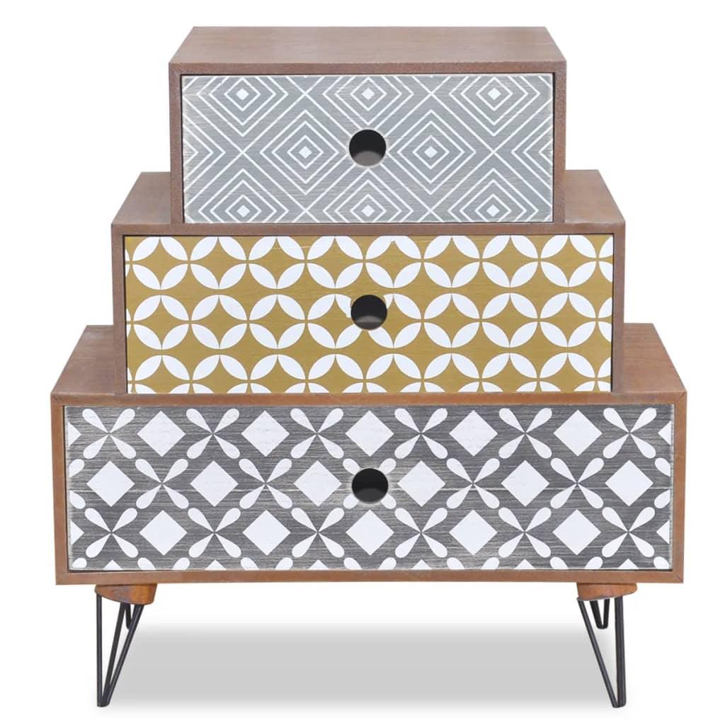 la boutique en ligne table de chevet 3 tiroirs brun. Black Bedroom Furniture Sets. Home Design Ideas
