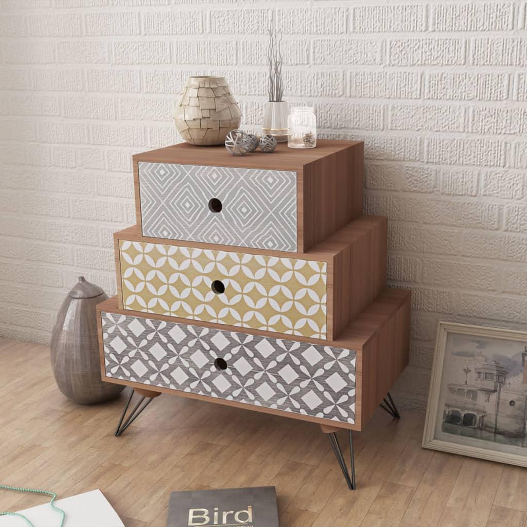 vidaXL Gabinete/mesita de noche con tres cajones color marrón | eBay