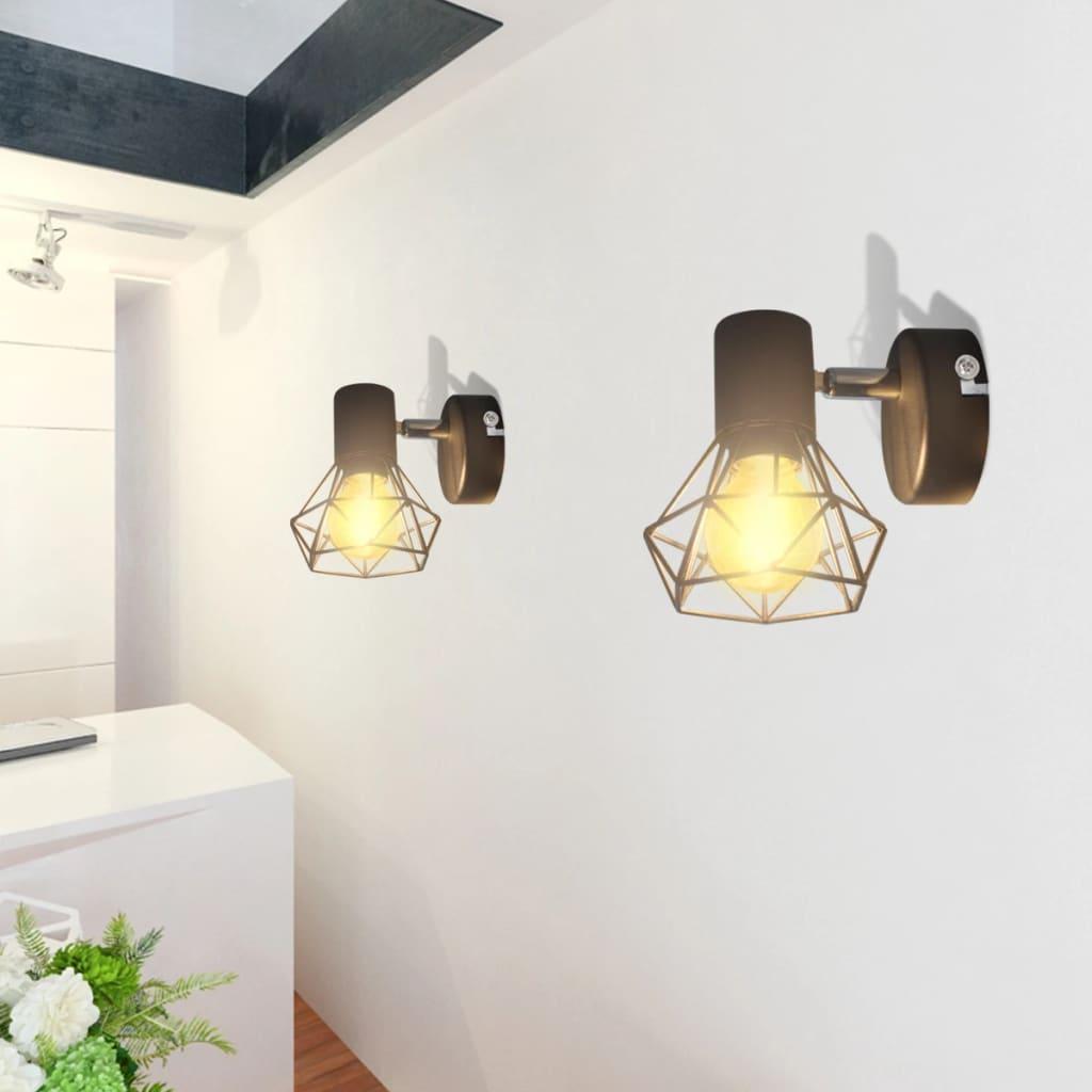 vidaXL 2 db ipari stílusú drótháló árnyékolós LED-es fali lámpa fekete