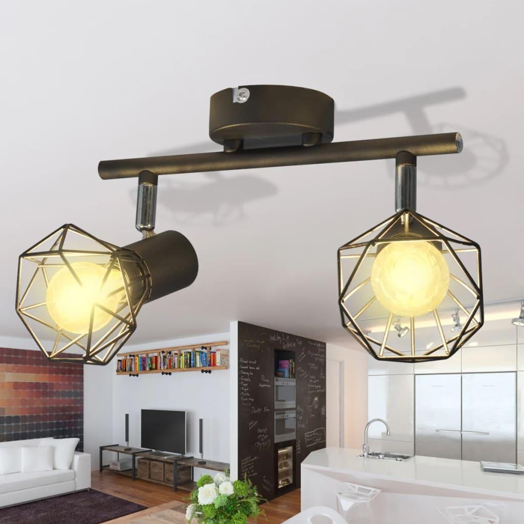 Lamp in industri le stijl met 2 led spotjes zwart for Industriele stijl