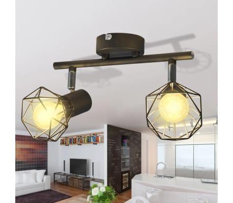 deckenstrahler industrie stil drahtgestell 2 led. Black Bedroom Furniture Sets. Home Design Ideas