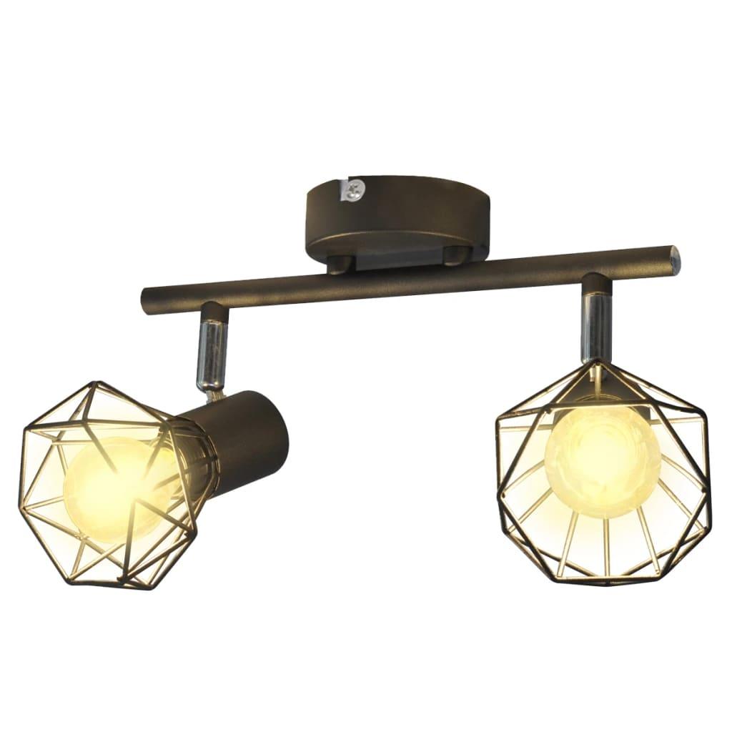 vidaXL Ipari stílusú drótháló árnyékolós 2 x LED-es fali lámpa fekete