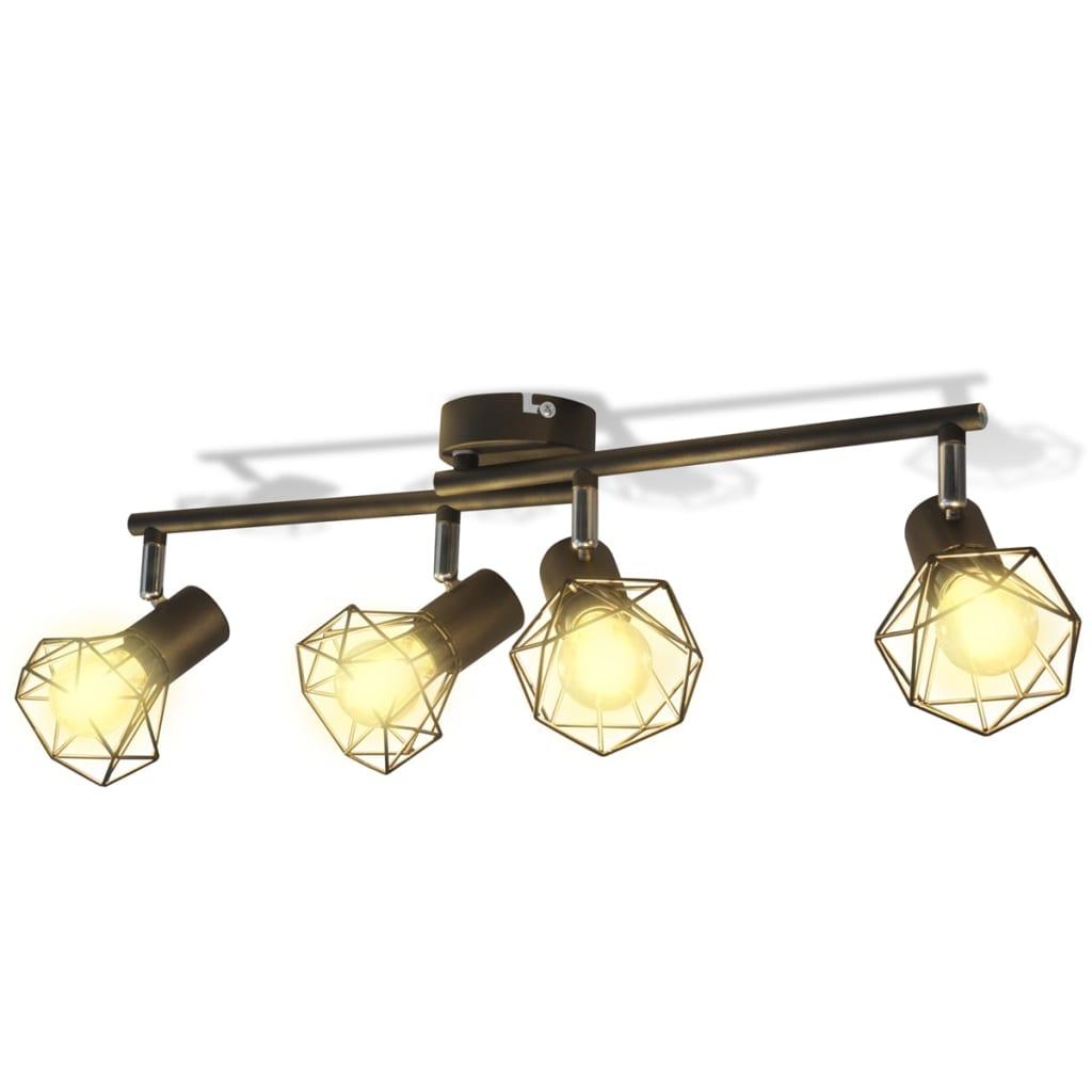 vidaXL Ipari stílusú drótháló árnyékolós 4 x LED-es fali lámpa fekete