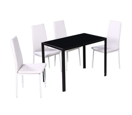 Ensemble de salle manger 4 chaises 1 table blanc design for Ensemble de salle a manger contemporain