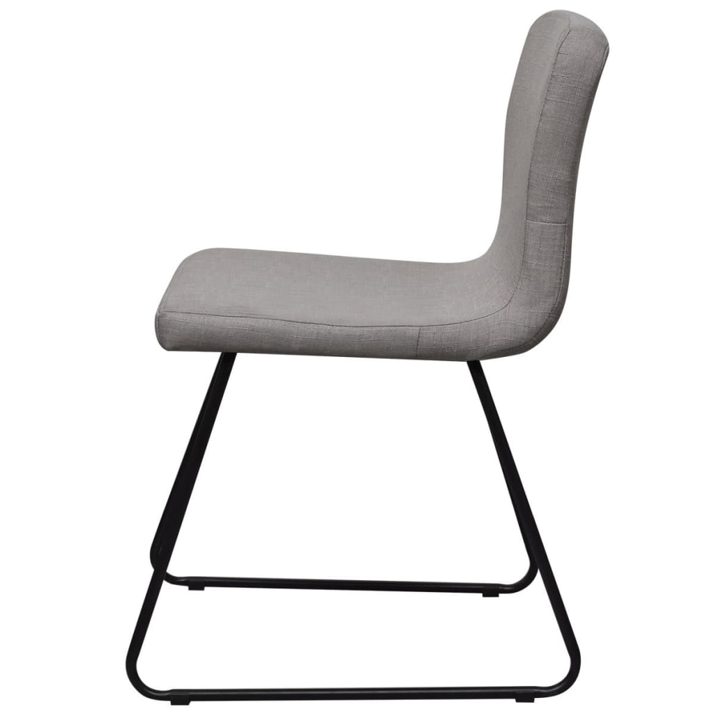 2 fabric dining chairs light grey iron legs. Black Bedroom Furniture Sets. Home Design Ideas