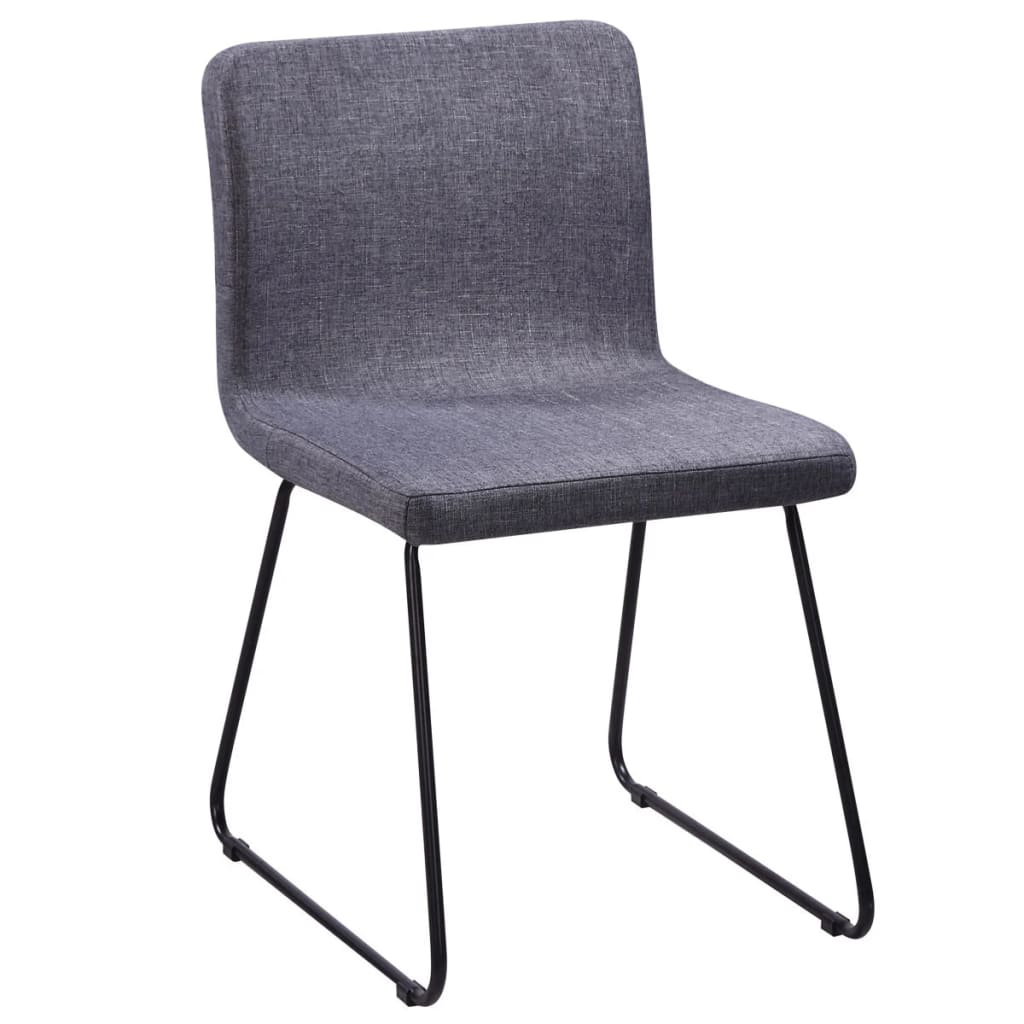 Iron Dining Chairs ~ Fabric dining chairs dark grey iron legs vidaxl