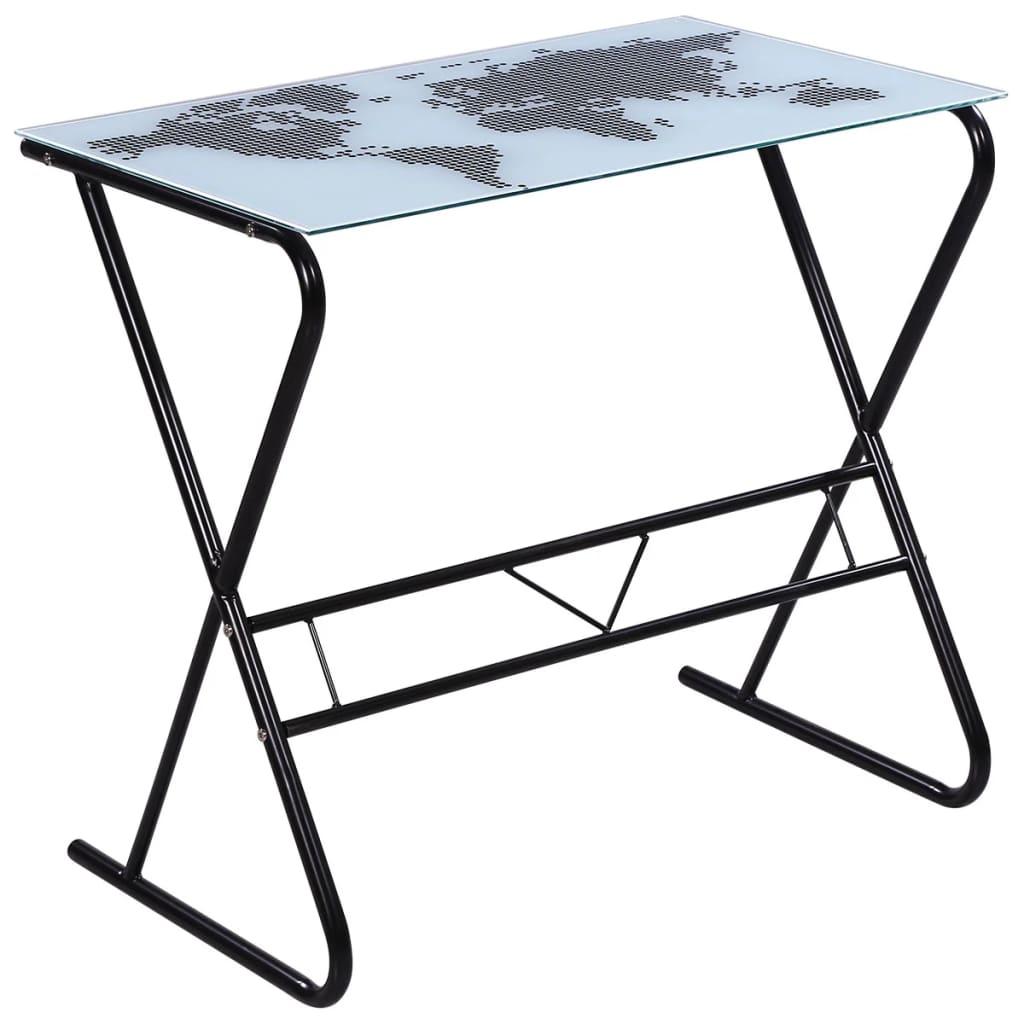 la boutique en ligne bureau en verre motif de carte du monde. Black Bedroom Furniture Sets. Home Design Ideas
