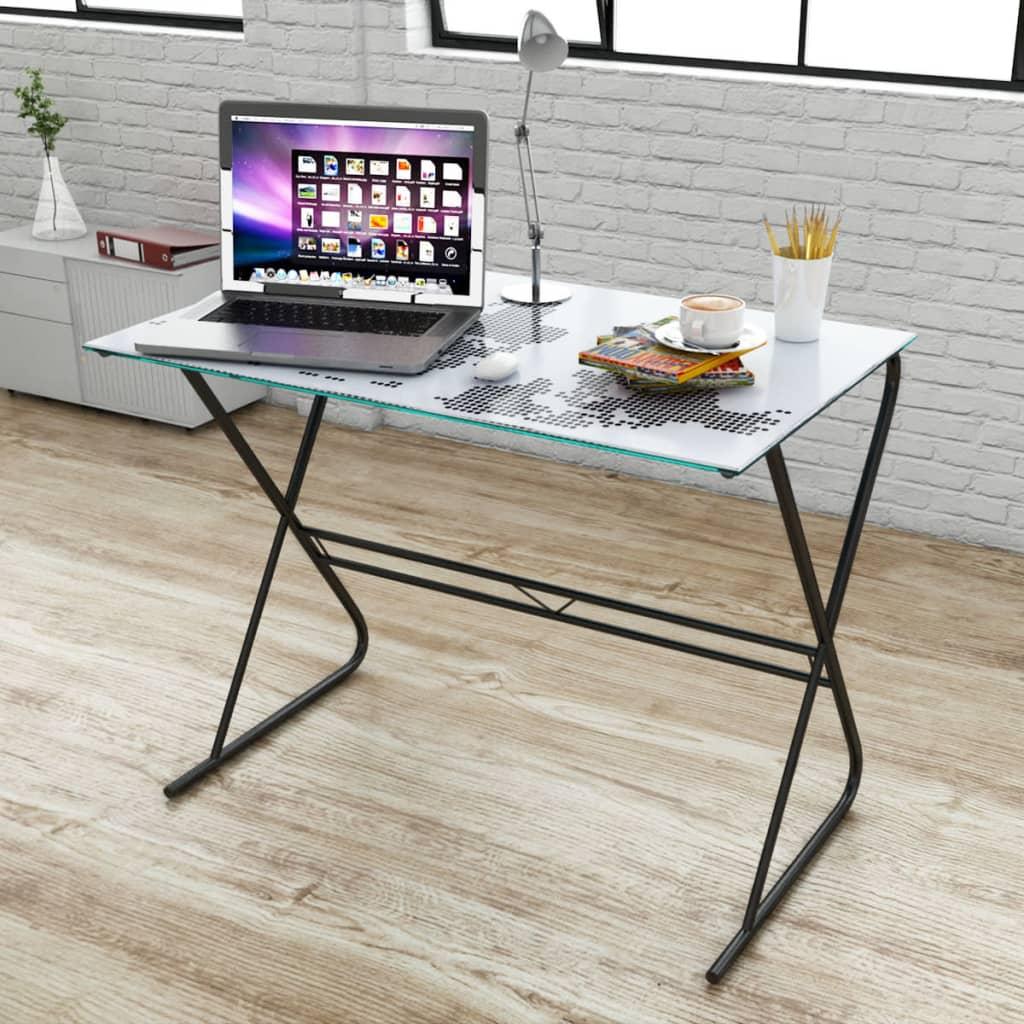 vidaXL Üvegasztal / íróasztal világtérkép nyomtatású asztallappal