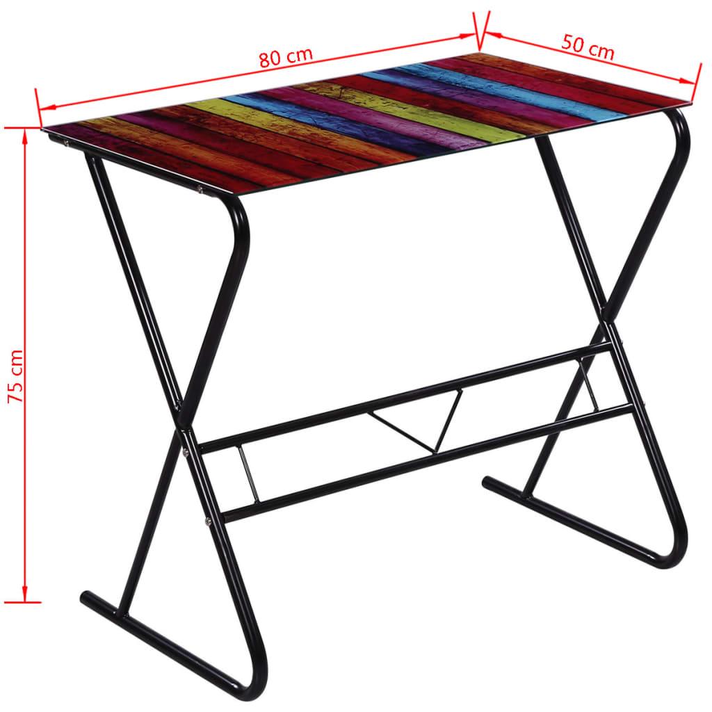 acheter bureau en verre motif d 39 arc en ciel pas cher. Black Bedroom Furniture Sets. Home Design Ideas