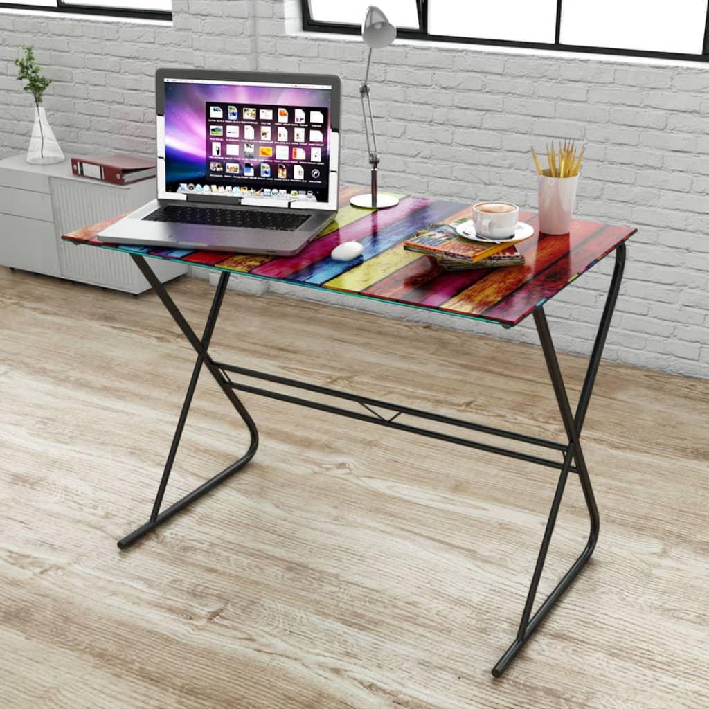 Bureau-en-verre-a-motif-de-carte-du-monde-d-039-arc-en-ciel-Table-d-039-ordinateur
