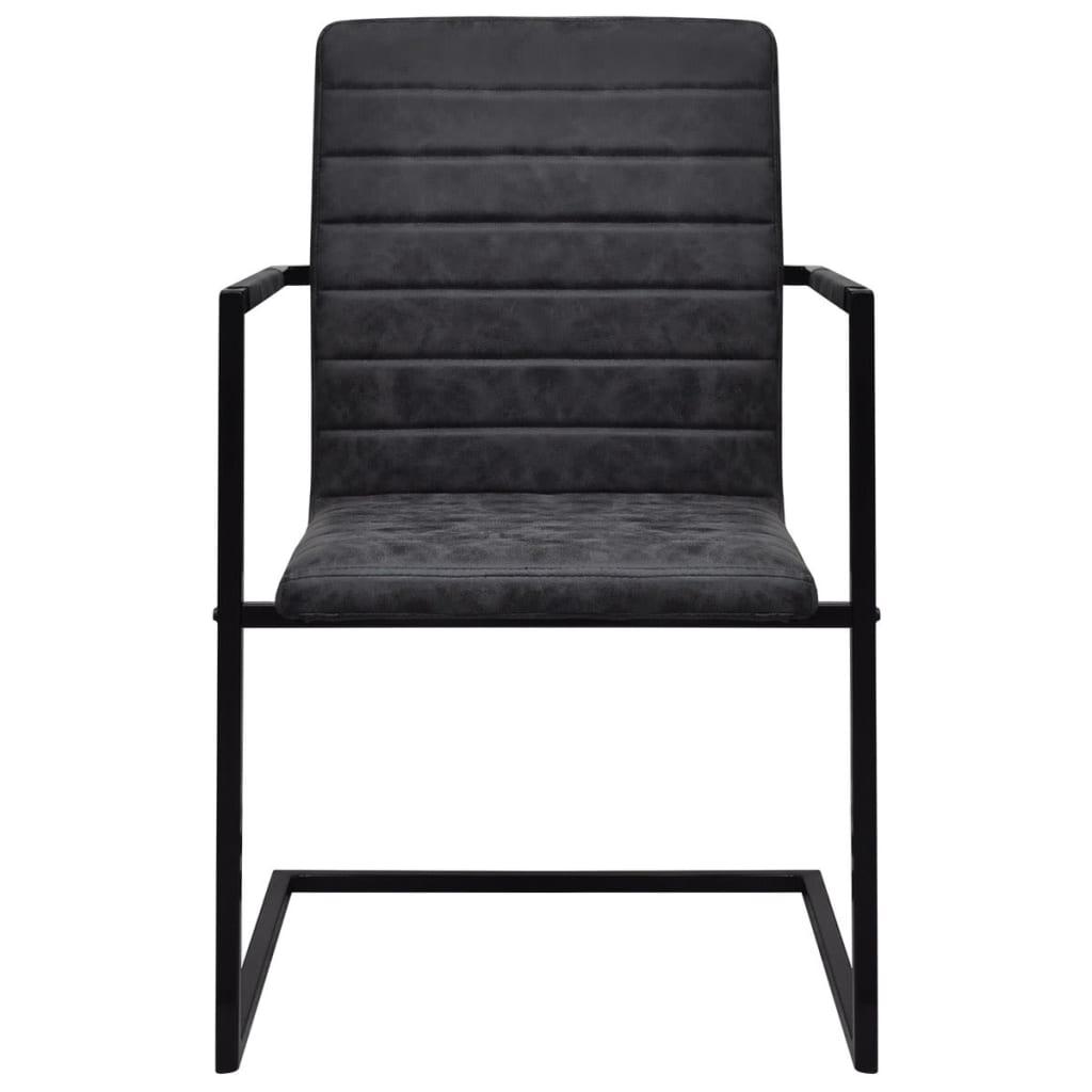 2 sillas cantilever negras con reposabrazos Sillas de cocina con reposabrazos