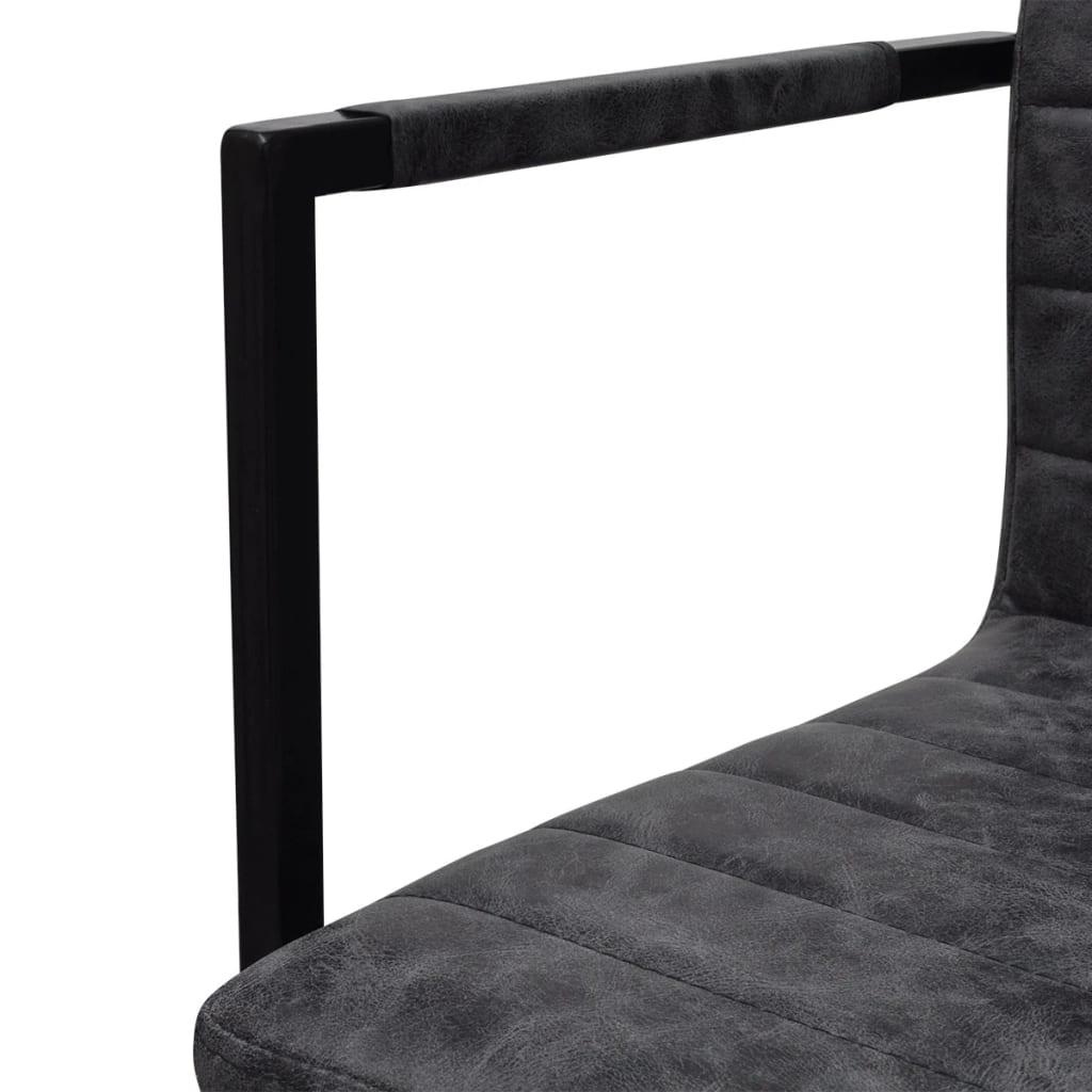 2 freischwinger esszimmerst hle mit armlehnen schwarz geriffelt. Black Bedroom Furniture Sets. Home Design Ideas