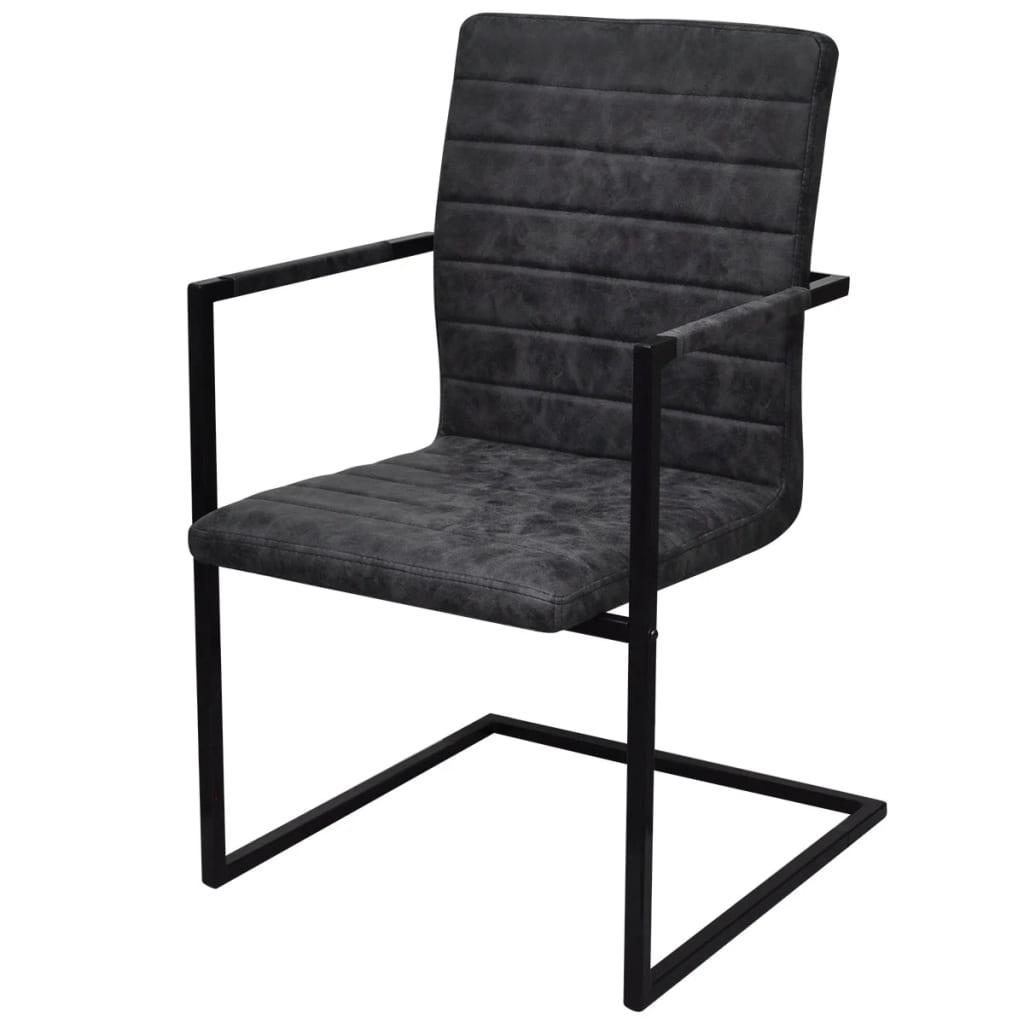 2 sillas cantilever negras con reposabrazos for Sillas tapizadas con reposabrazos