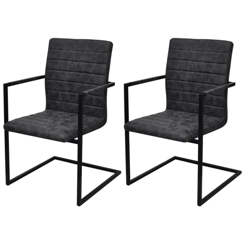 2 sillas cantilever negras con reposabrazos - Sillas con reposabrazos ...