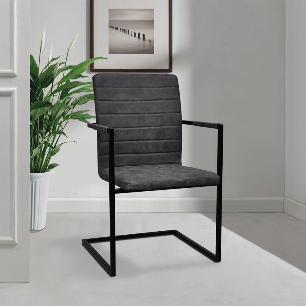 der 2 freischwinger esszimmerst hle mit armlehnen grau geriffelt online shop. Black Bedroom Furniture Sets. Home Design Ideas