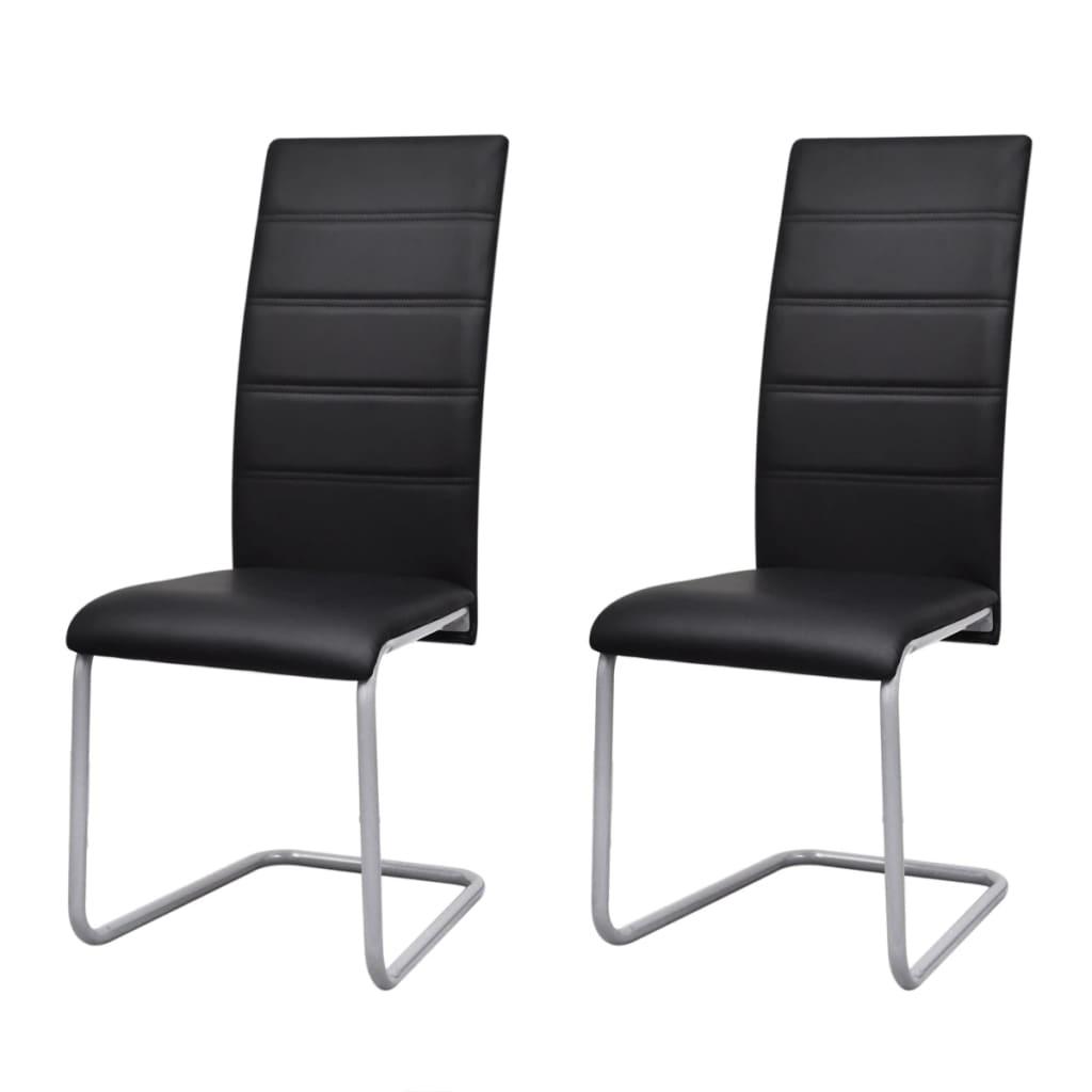 2 sillas cantilever negras con respaldo alto tienda online - Sillas cocina negras ...
