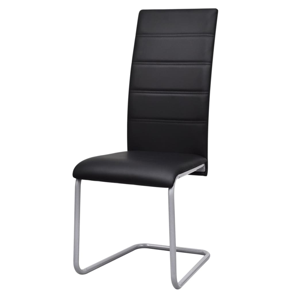 4 freischwinger esszimmerst hle mit hoher r ckenlehne schwarz g nstig kaufen. Black Bedroom Furniture Sets. Home Design Ideas