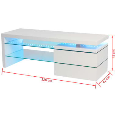 acheter vidaxl meuble tv avec led 120 x 42 x 43 cm blanc brillant pas cher. Black Bedroom Furniture Sets. Home Design Ideas