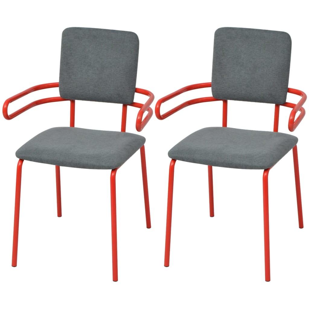 vidaXL Krzesła z podłokietnikami, 2 sztuki, szaro-czerwone