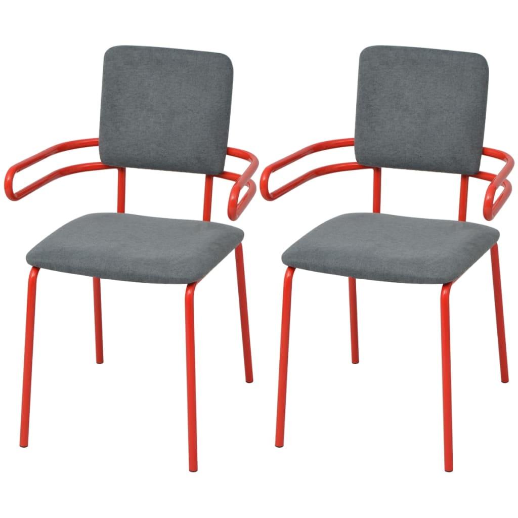 vidaxl silla sill n de comedor 2 unidades rojo y gris