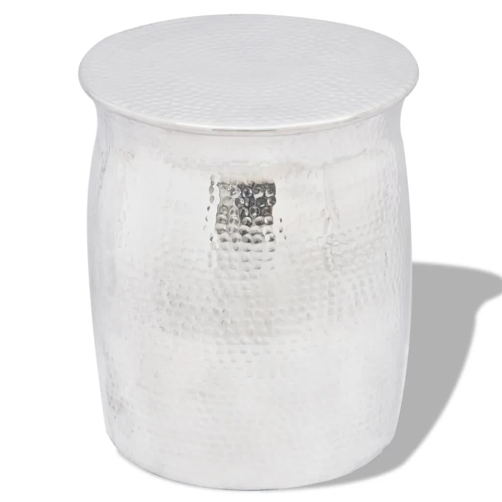 vidaXL Kalapált alumínium ülőke / kisasztal ezüst szín