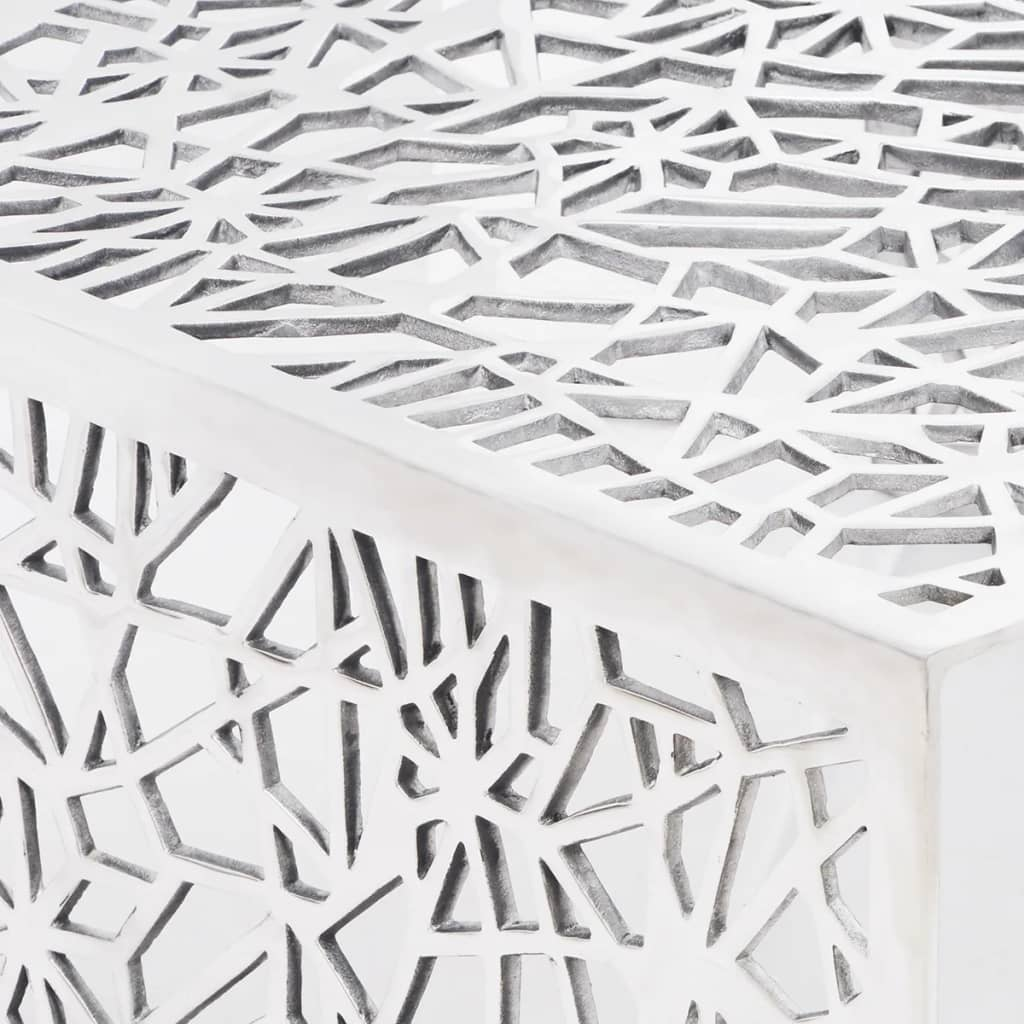 Aluminium Coffee Side Table End Display Silver Geometric