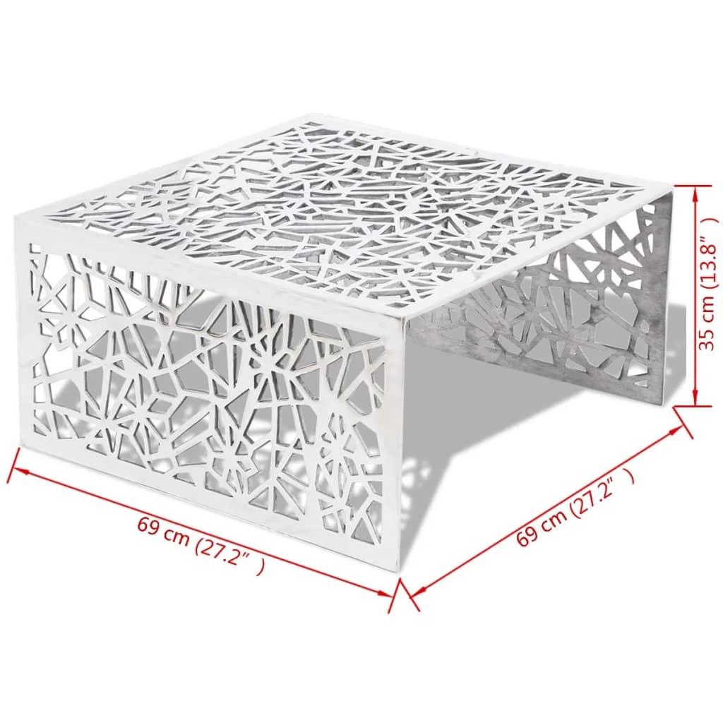 der aluminium couchtisch im geometrischen design mit lochmuster silber online shop. Black Bedroom Furniture Sets. Home Design Ideas