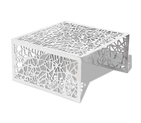table basse en aluminium avec design g om trique ajour argent. Black Bedroom Furniture Sets. Home Design Ideas