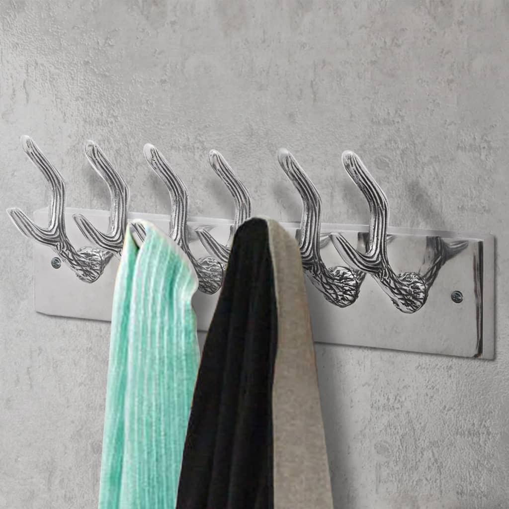 Colgador de aluminio con ganchos para ropa abrigos for Colgador ropa pared