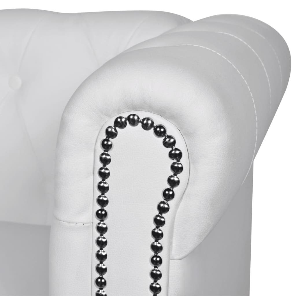 acheter vidaxl canap chesterfield 3 places blanc pas cher. Black Bedroom Furniture Sets. Home Design Ideas