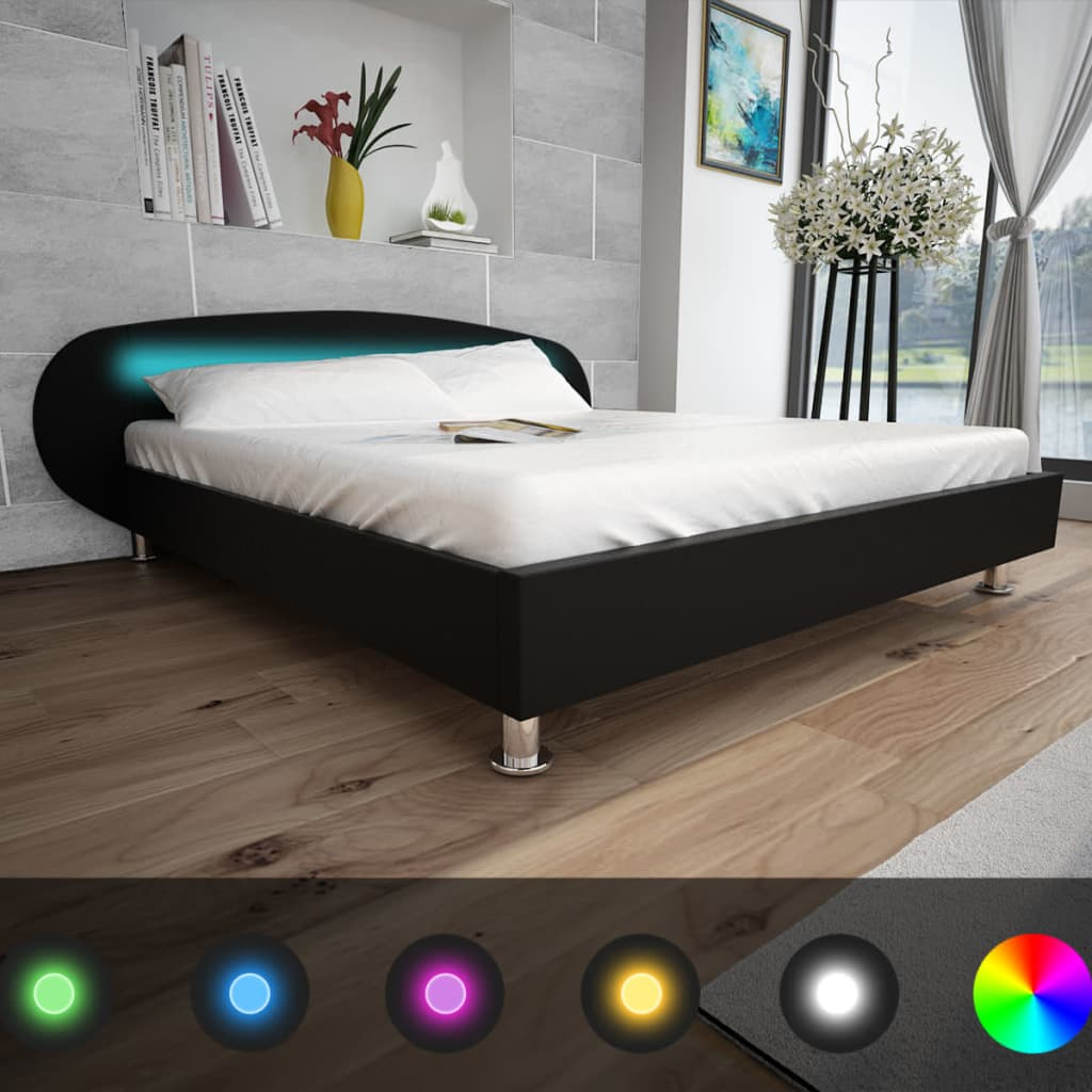 vidaXL-Letto-matrimoniale-nero-in-pelle-artificiale-con-striscia-LED-140-x-200cm