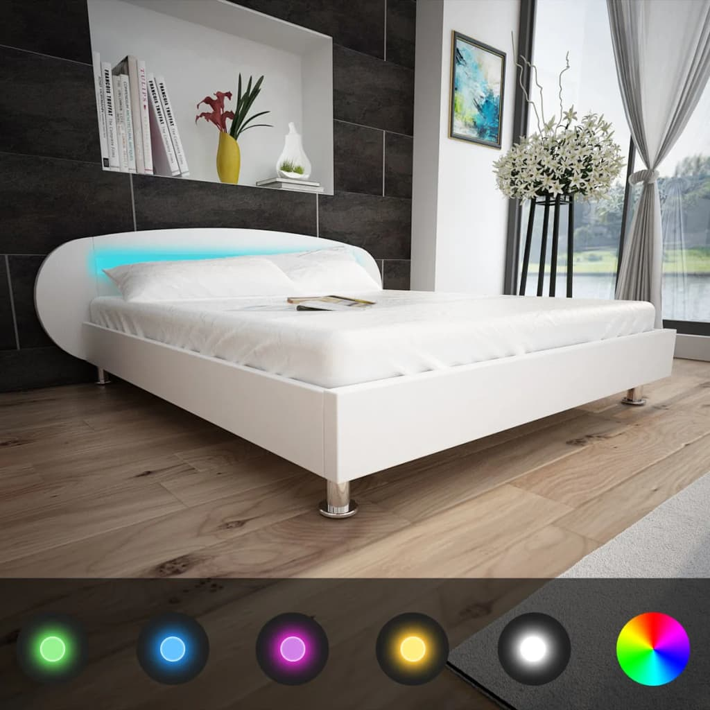 acheter cadre de lit cuir synth tique blanc avec bandeau led 180 x 200 cm pas cher. Black Bedroom Furniture Sets. Home Design Ideas