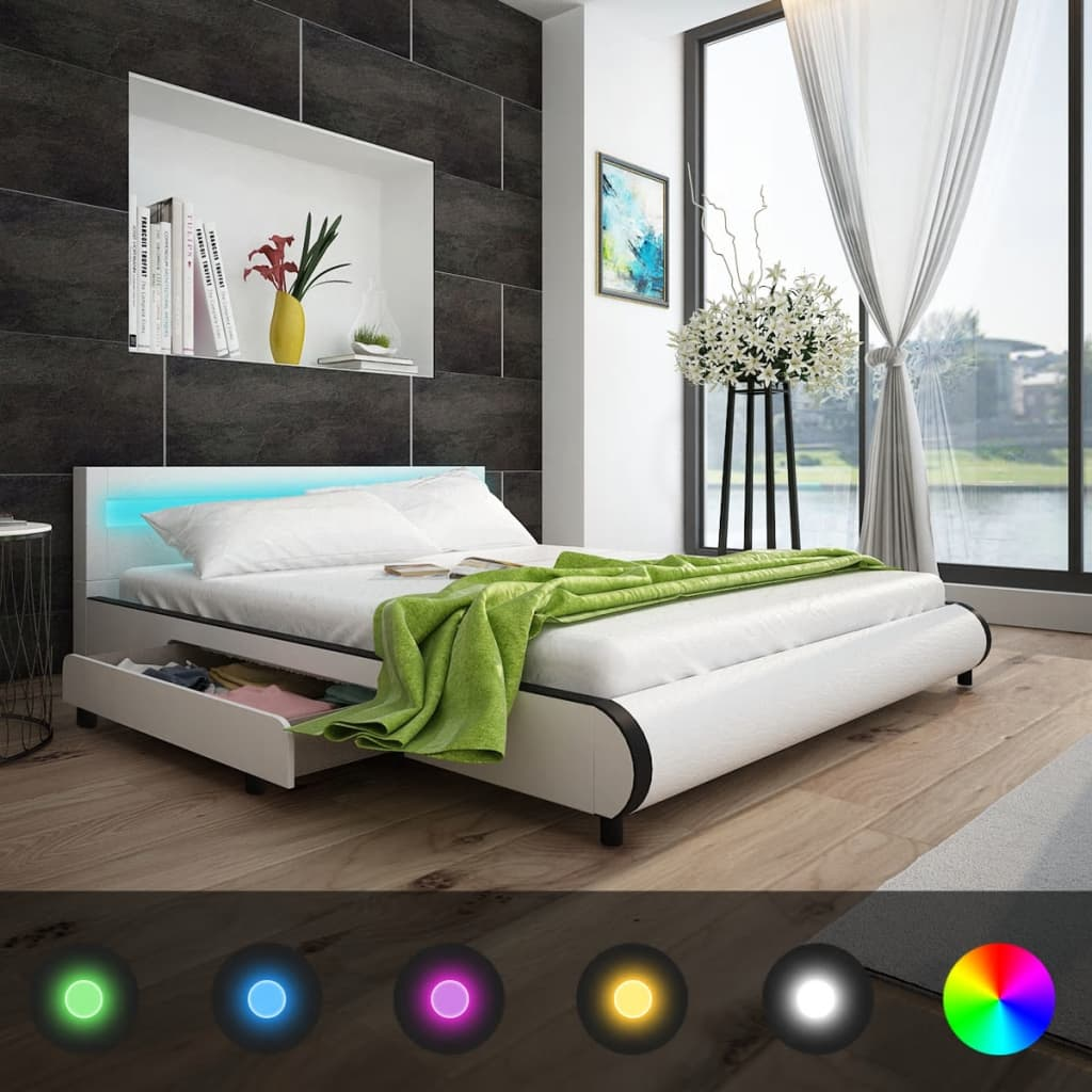 der kunstlederbett mit 2 schubladen mit led leiste am kopfteil 180 cm wei online shop. Black Bedroom Furniture Sets. Home Design Ideas