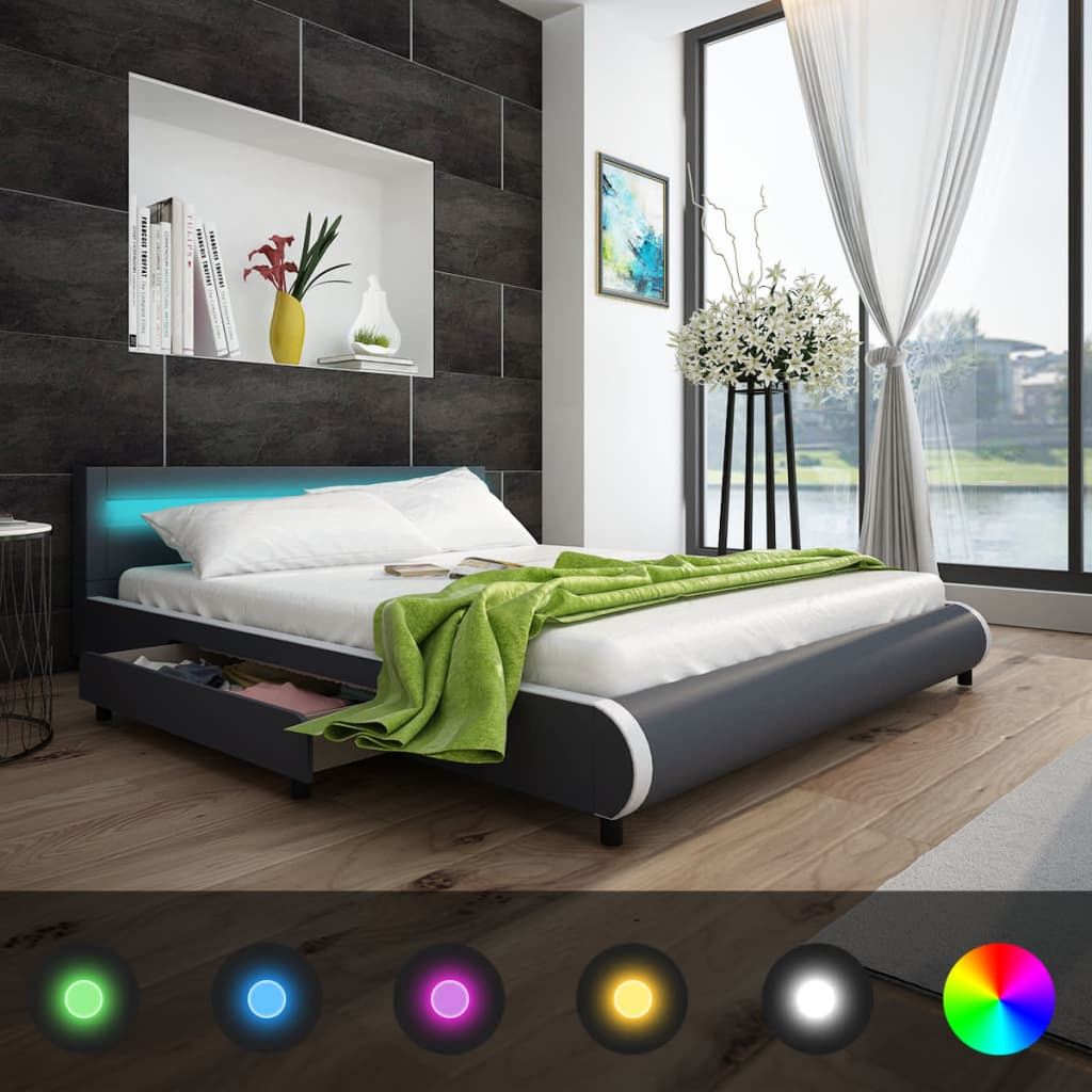 polsterbett led kunstlederbett doppelbett bett bettkasten bettgestell 140 180 cm ebay. Black Bedroom Furniture Sets. Home Design Ideas