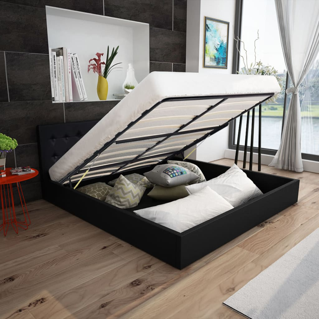 lit coffre hydraulique en cuir artificiel blanc noir lit. Black Bedroom Furniture Sets. Home Design Ideas