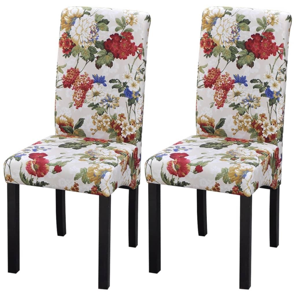 vidaXL Krzesła do jadalni 2 szt Floral Design Drewniana rama