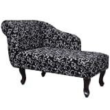 Stoffbezug-Chaiselongue mit Armlene Links Florales Design Schwarz