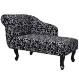 Chaise longue stof met linker armsteun met bloemmotief zwart