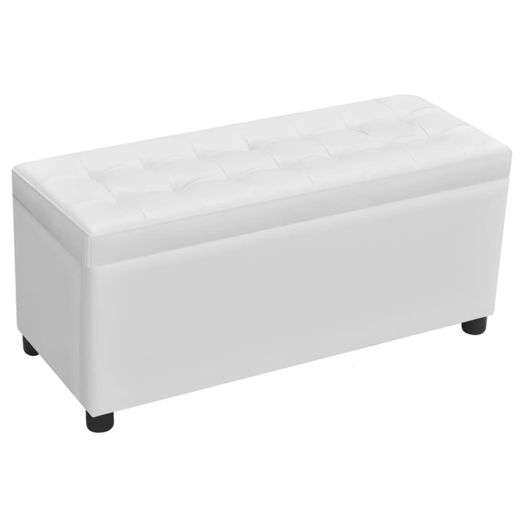 Cassapanca in pelle artificiale bianco con seduta for Cassapanca con seduta