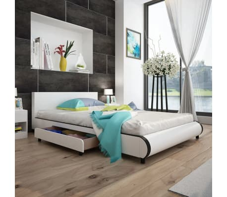 wei es kunstlederbett mit 2 schubladen 140 x 200 cm g nstig kaufen. Black Bedroom Furniture Sets. Home Design Ideas