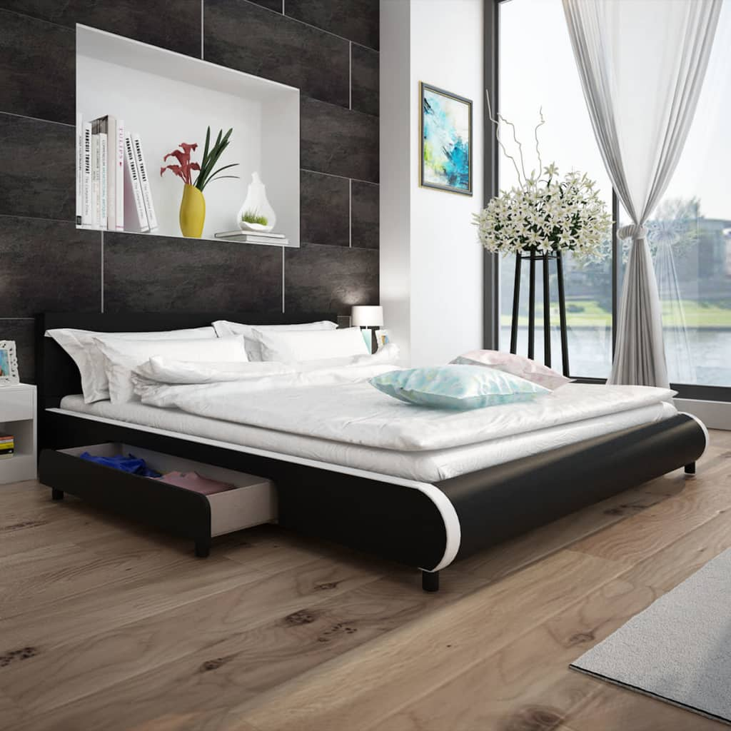 acheter lit en cuir synth tique noir avec 2 tiroirs 180 x 200 cm pas cher. Black Bedroom Furniture Sets. Home Design Ideas